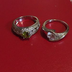 🌹 Set of 2 rings: green and clear (not real)